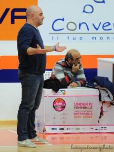 Coach Mauro Serpico, con alle spalle il dirigente Michele Vaccaro